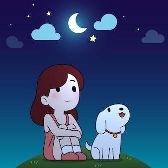 Dziewczyna i szczeniak siedzą i patrzą do księżyca na tle nocnego nieba kreskówki.