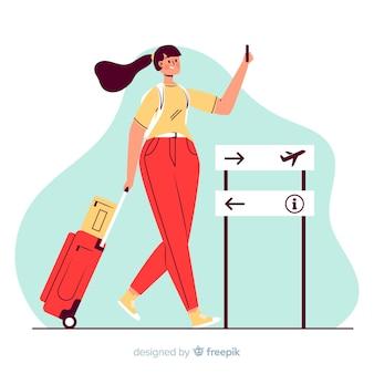 Dziewczyna idzie na wycieczkę