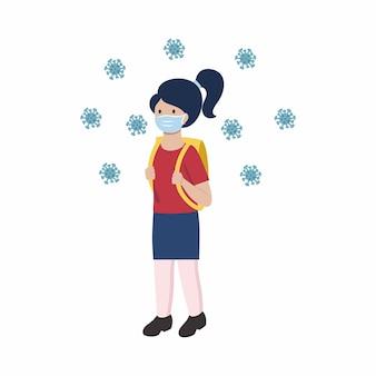 Dziewczyna idzie ze szkolną torbą. studentka w masce medycznej podczas epidemii koronawirusa. dziecko narysowane w stylu płaskiej.