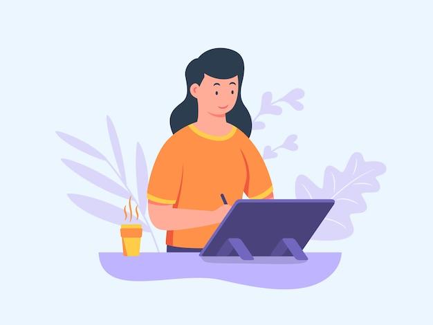 Dziewczyna ilustrator postać pracuje na tablecie trzymając pióro projektując ilustrowany obraz z płaskim stylu cartoon.