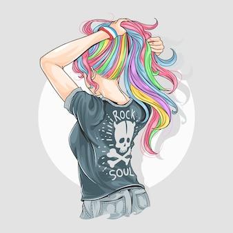 Dziewczyna jednorożec w pełny kolor włosów z rocker t-shirt