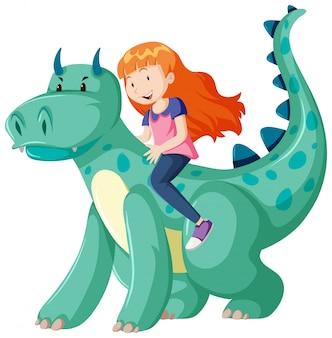Dziewczyna jedzie na postać z kreskówki dinozaura na białym tle