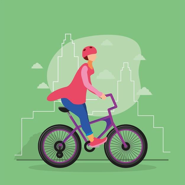 Dziewczyna Jedzie Na Rowerze Premium Wektorów
