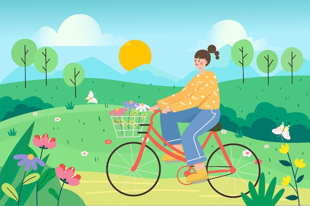 Dziewczyna jedzie na zewnątrz wiosną