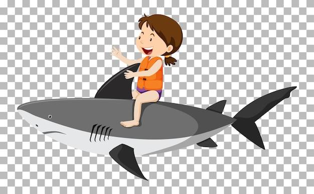Dziewczyna jedzie rekina na białym tle