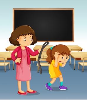 Dziewczyna jest karana przez nauczyciela w klasie
