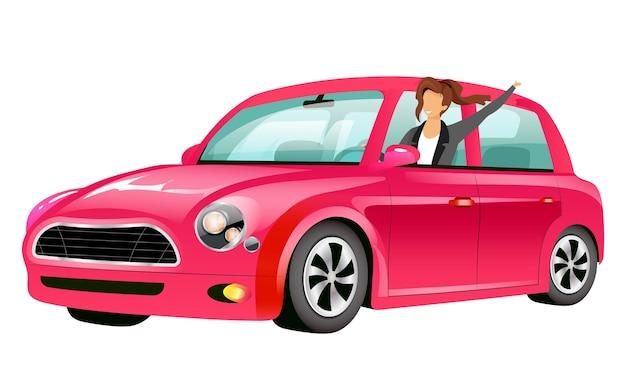 Dziewczyna jeżdżąca na różowo mini cooper w płaskiej konstrukcji bez twarzy
