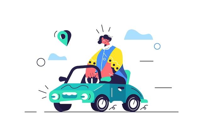 Dziewczyna Jeździ Samochodem, Mały Samochód Z Charakterem, Przypinka Premium Wektorów
