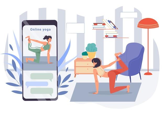 Dziewczyna joga badanie postaci na ekranie urządzenia telefonu komórkowego