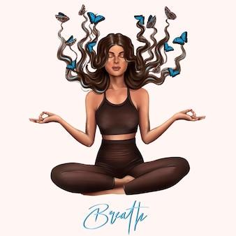 Dziewczyna jogi, oddech. joga medytacji, zdrowy styl życia. ilustracja wektorowa.