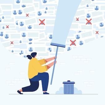 Dziewczyna kasowanie danych, ilustracja stylu cartoon