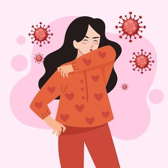Dziewczyna kaszel i rozprzestrzeniania koronawirusa w powietrzu