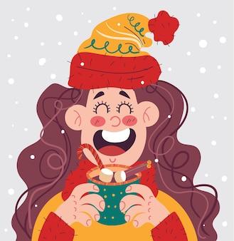 Dziewczyna kobieta postać pije gorący napój zimowy wesołych świąt i szczęśliwego nowego roku płaska kreskówka