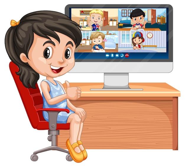 Dziewczyna komunikuje się z przyjaciółmi w wideokonferencji