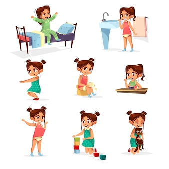 Dziewczyna kreskówka codzienny zestaw rutynowych czynności. Żeński charakter obudzić, rozciągnąć, mycie zębów