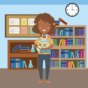 Dziewczyna kreskówka szkolnego projekta
