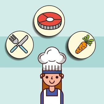 Dziewczyna kucharz kreskówka i nóż marchew widelec ryby