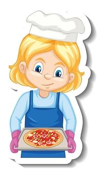 Dziewczyna kucharz trzyma naklejkę z postacią z kreskówek z pieczoną tacą