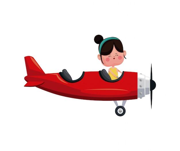 Dziewczyna latać czerwony samolot miłość dzień
