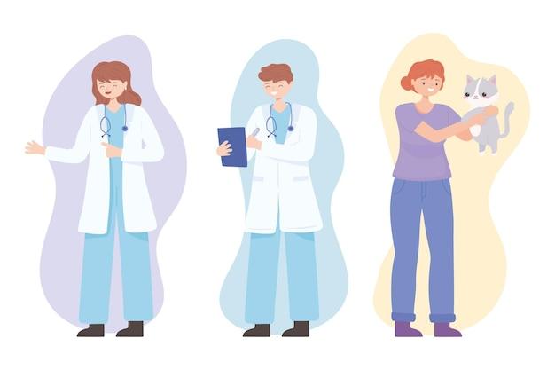 Dziewczyna lekarzy weterynarza