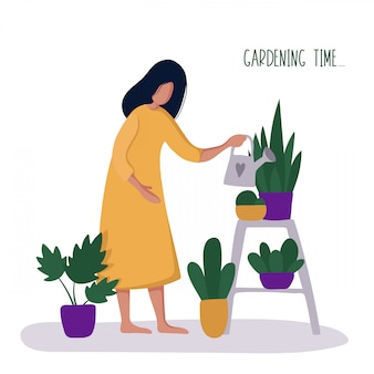 Dziewczyna lub kobieta i jej hobby - ogrodnictwo, podlewanie