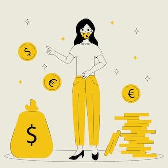 Dziewczyna lub kobieta w masce ochronnej z monetami. koncepcja oszczędności pieniędzy.