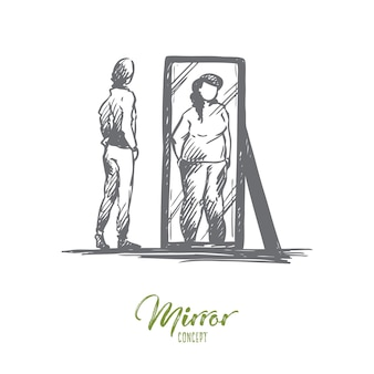 Dziewczyna, lustro, ciało, zniekształcone, pojęcie wagi. ręcznie rysowane nieszczęśliwa nastolatka patrzy w lustro z zniekształconym szkicem obrazu ciała.