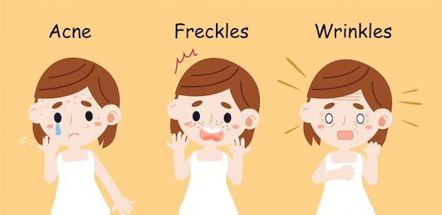 Dziewczyna ma problemy skórne związane z piegami i zmarszczkami trądziku