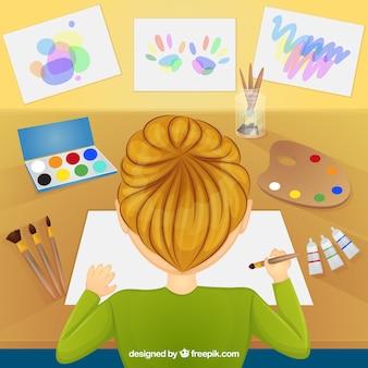 Dziewczyna malowanie akwarelami