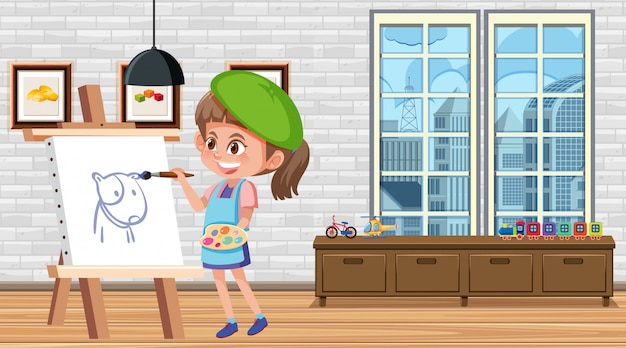 Dziewczyna malowanie na płótnie w domu