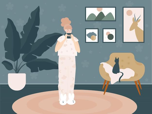 Dziewczyna marzycielska poranna latte w domu. doodle handdrawn ilustracja do wykorzystania w projektowaniu