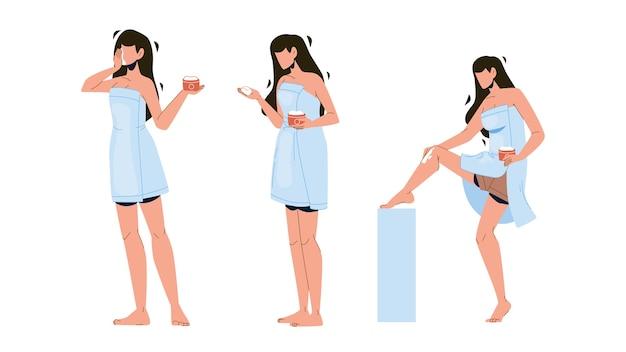 Dziewczyna maść pakiet i masująca nogę