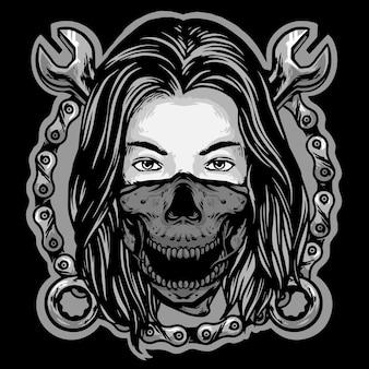 Dziewczyna mechanik z łańcuchami i klucz maskotka logo