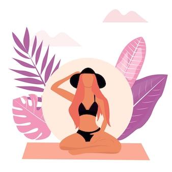 Dziewczyna medytuje siedząc w pozycji lotosu. ilustracja wektorowa postaci wykonującej jogę na tle roślin. płaska konstrukcja