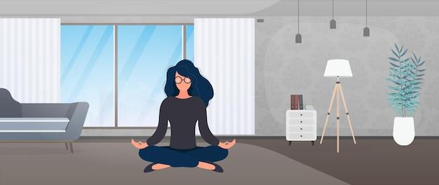 Dziewczyna medytuje w pokoju. dziewczyna robi joga. ilustracja wektorowa.