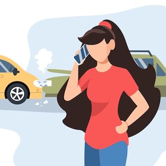 Dziewczyna miała wypadek drogowy. ubezpieczenie motoryzacyjne. dziewczyna dzwoni telefonem komórkowym. płaska ilustracja.