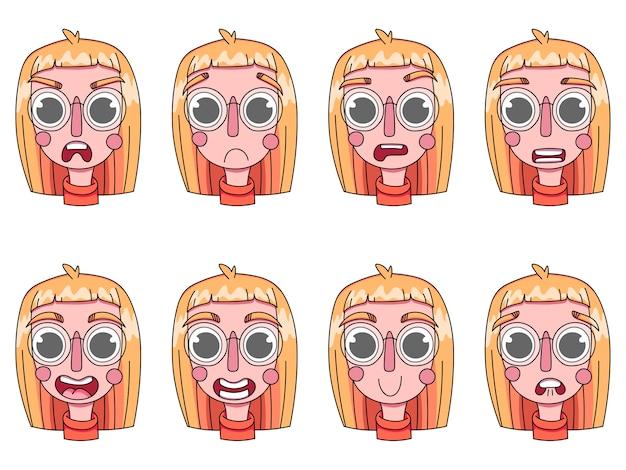 Dziewczyna, młode kobiety, portret. różne emocje na twarzy: strach, radość, złość, oszołomienie, smutek, zaskoczenie.