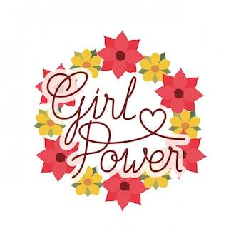 Dziewczyna moc etykiety z koroną kwiatów na białym tle ikona