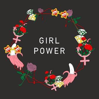 Dziewczyna moc kwiat rama wektor