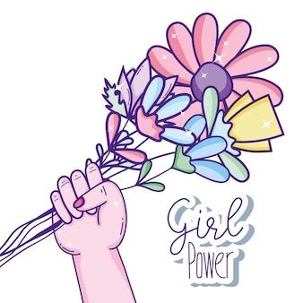 Dziewczyna moc wiadomość z bukietem kwiatów