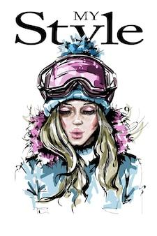 Dziewczyna moda w zimowe ubrania