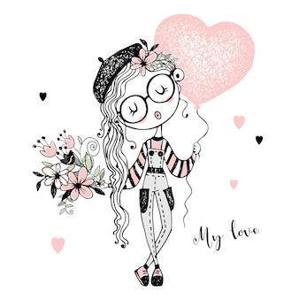 Dziewczyna moda z bukietem i balonem w kształcie serca. napisz o miłości