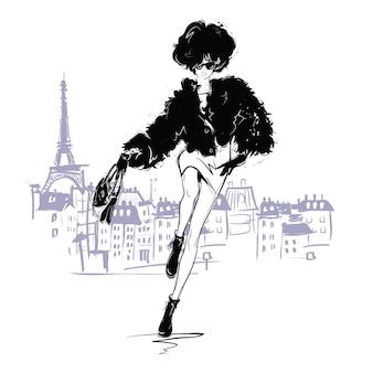 Dziewczyna mody w stylu szkicu. portret kobiety moda.