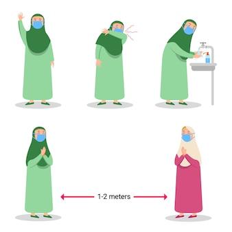 Dziewczyna muzułmanin zapobiegający rozprzestrzenianiu się wirusa grypy płaski charakter