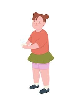 Dziewczyna myje ręce płaski kolor postać bez twarzy dziecko trzyma mydło czyszczenie przed zarazkami higiena osobista ilustracja kreskówka na białym tle sanitarnych