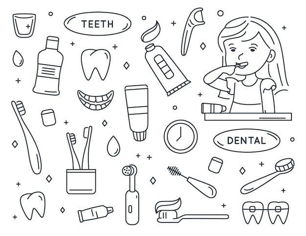 Dziewczyna myje zęby zestaw elementów do czyszczenia zębów opieka stomatologiczna dzieci