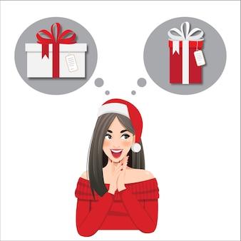Dziewczyna myśli, co zaprezentować na nowy rok, boże narodzenie. postać na białym tle odwraca wzrok i uśmiecha się