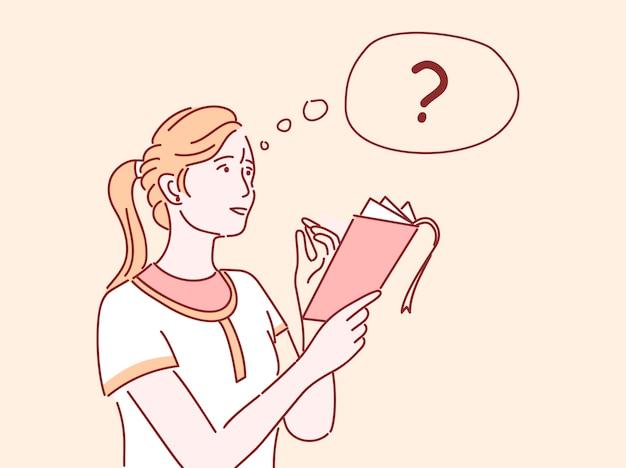 Dziewczyna myśli płaski ilustracja. żeńska uczeń robi liście, bierze notatki, rozwiązuje zadanie odizolowywającego postać z kreskówki z konturem. rozważna kobieta pyta, trzymający notatnika i ołówek