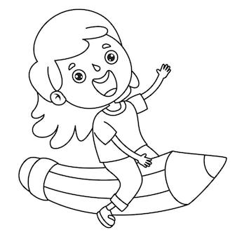 Dziewczyna na dużym ołówku, rysowanie linii dla dzieci, kolorowanki