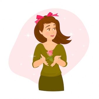Dziewczyna na dzień matki lub dzień kobiet